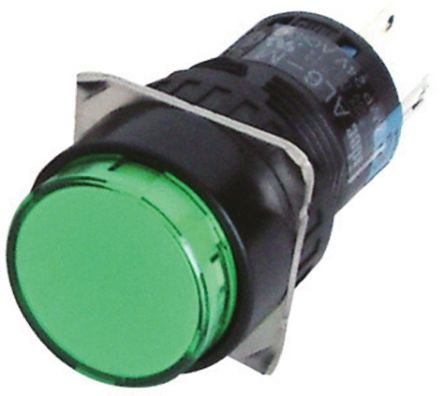 Idec Single Pole Double Throw (SPDT) Momentary Green LED Push Button Switch, IP65, 16.2 (Dia.)mm, Panel Mount, 250V