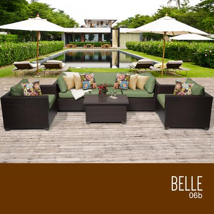BELLE-06b-CILANTRO Belle 6 Piece Outdoor Wicker Patio Furniture Set 06b with 2 Covers: Wheat and