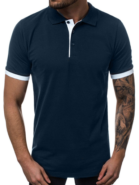 Milanoo Mens Polo Shirt Color Block Turndown Collar Short Sleeves Buttons Top