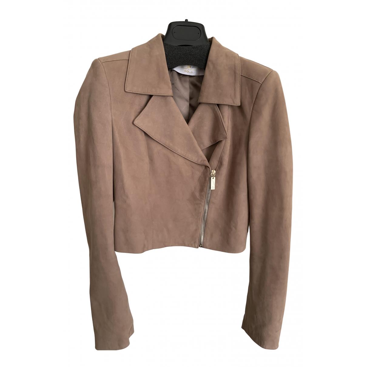 Elisabetta Franchi N Beige Leather jacket for Women 42 IT