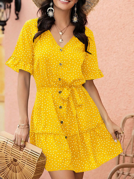 Milanoo Summer Dress V Neck Polka Dot Button Beach Dress