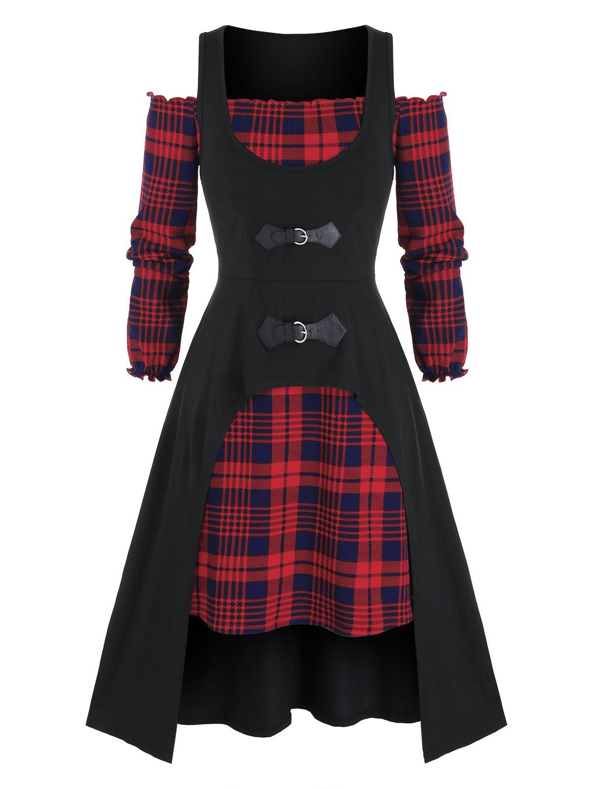 Plus Size Off Shoulder Plaid Dress and Buckle Long Tank Top Set