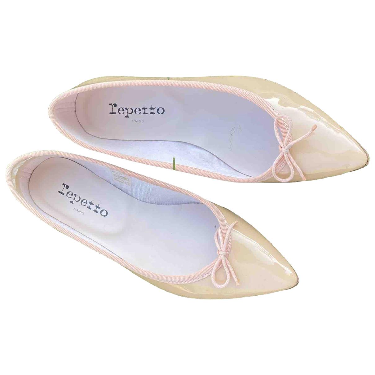 Repetto - Ballerines   pour femme en cuir verni - beige