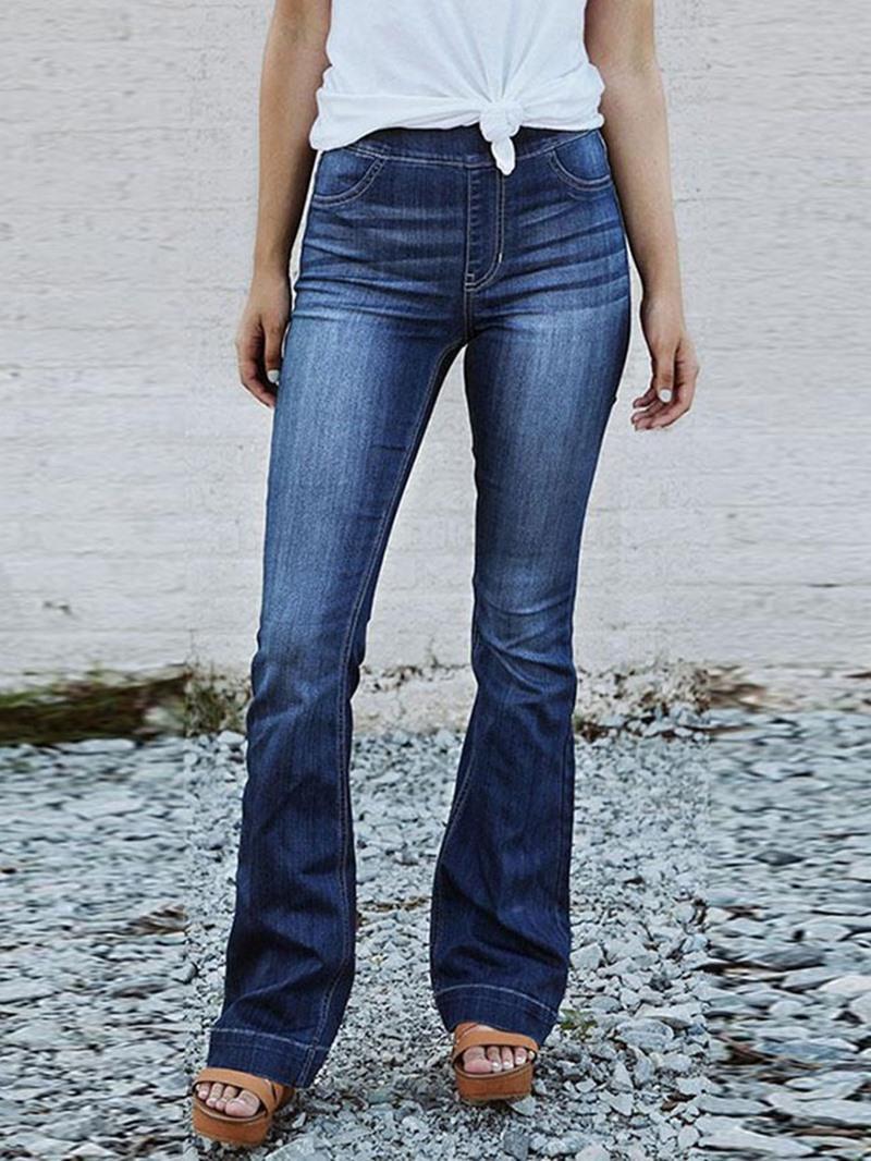 Ericdress Bellbottoms Plain Mid-Waist Slim Jeans