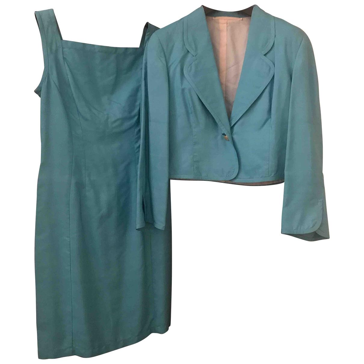 - Robe   pour femme en soie - turquoise