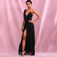 Draped Wrap Sequin Cami Maxi Dress