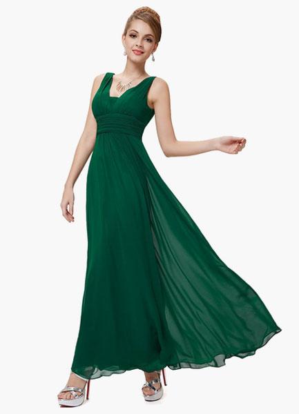 Milanoo Vestido de damas de honor de chifon con cuello en V y peplum hasta el suelo