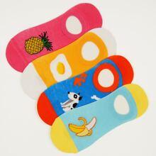 4 Paare Socken mit Obst Muster