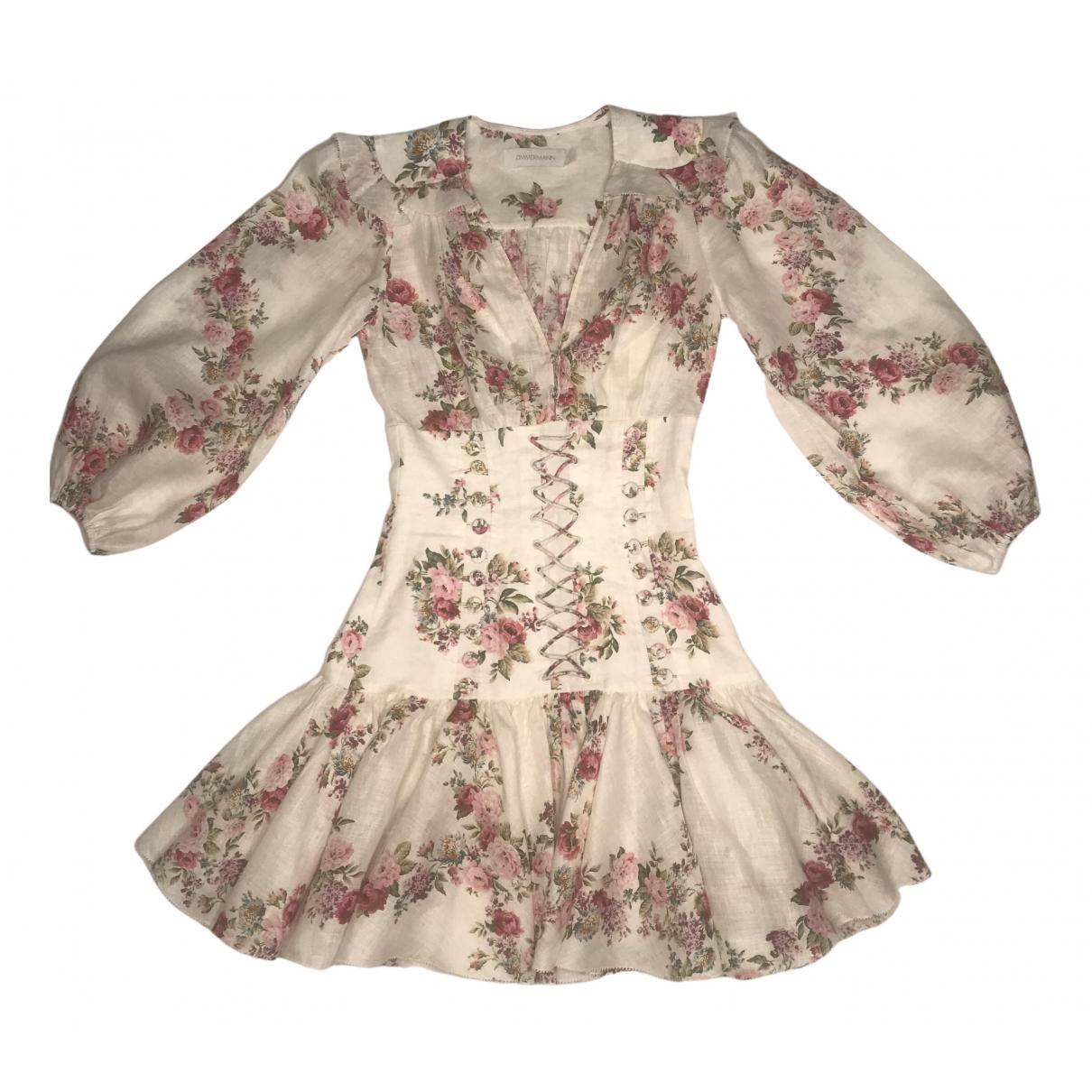 Zimmermann - Robe   pour femme en lin - multicolore