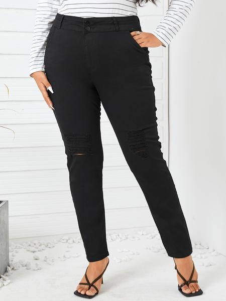 Yoins Plus Size Pocket Design Cut Out Pants