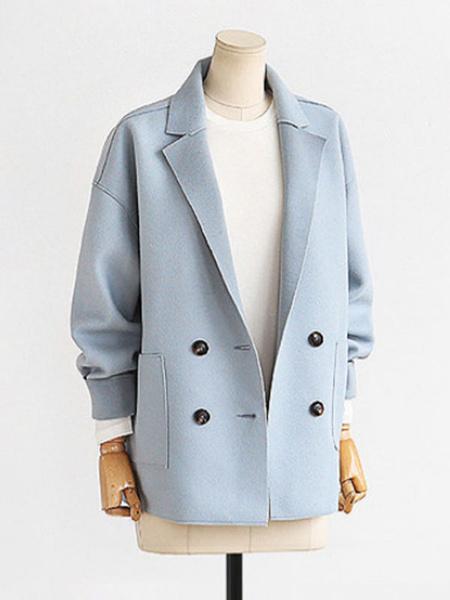 Milanoo Blazer For Women Stylish Polyester Oversized Turndown Collar Long Sleeves Pink Coats