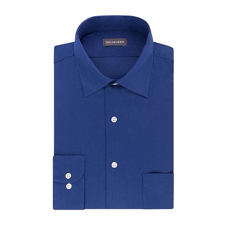 Van Heusen Lux Sateen Stretch Long Sleeve Dress Shirt - big and Tall, 18.5 32-33, Blue