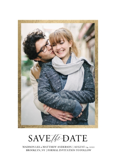 Save the Date 5x7 Cards, Premium Cardstock 120lb with Scalloped Corners, Card & Stationery -Wedding Save the Date Thick Gold Border by Tumbalina