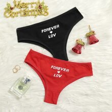 2pack Heart & Letter Graphic Panty Set