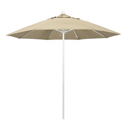 ALTO908170-5422 9' Venture Series Commercial Patio Umbrella With Matted White Aluminum Pole Fiberglass Ribs Push Lift With Sunbrella 1A Antique Beige