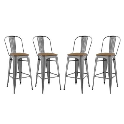 Promenade Collection EEI-3897-GME Set of 4 Bar Stools with Footrest Support  Industrial Style  Laminated Bamboo Square Shaped Seat and Vintage Powder