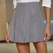 Falda de guingan de cintura alta