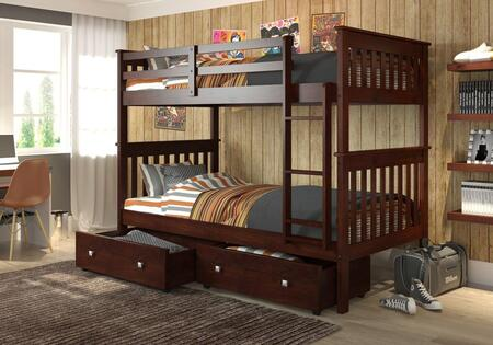 120-3-TTCP_505-CP Twin/Twin Mission Bunk Bed With Under Bed Drawers Cappuccino