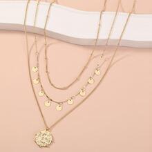 3 Stuecke Halskette mit Scheibe Anhaenger