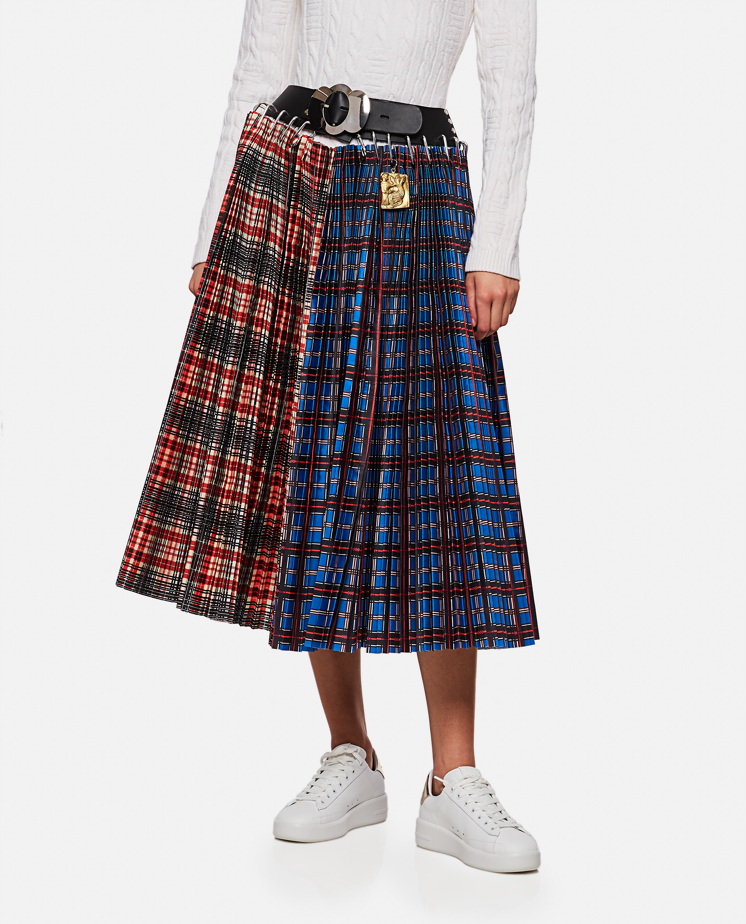 Cork pleated skirt with checked panels