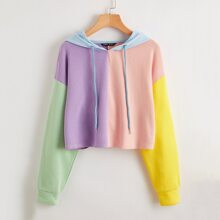 Drop Shoulder Colorblock Crop Hoodie