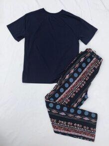 Pocket Patched Tee & Tribal Print Pants