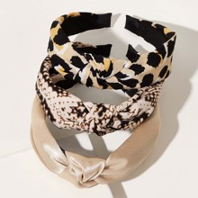 3pcs Leopard & Snakeskin Pattern Knot Decor Hair Hoop