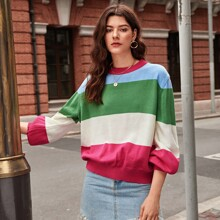 Lantern Sleeve Colorblock Sweater
