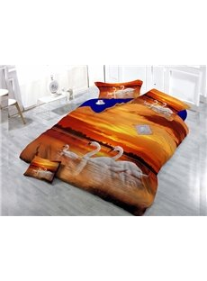 White Swan Wear-resistant Breathable High Quality 60s Cotton 4-Piece 3D Bedding Sets