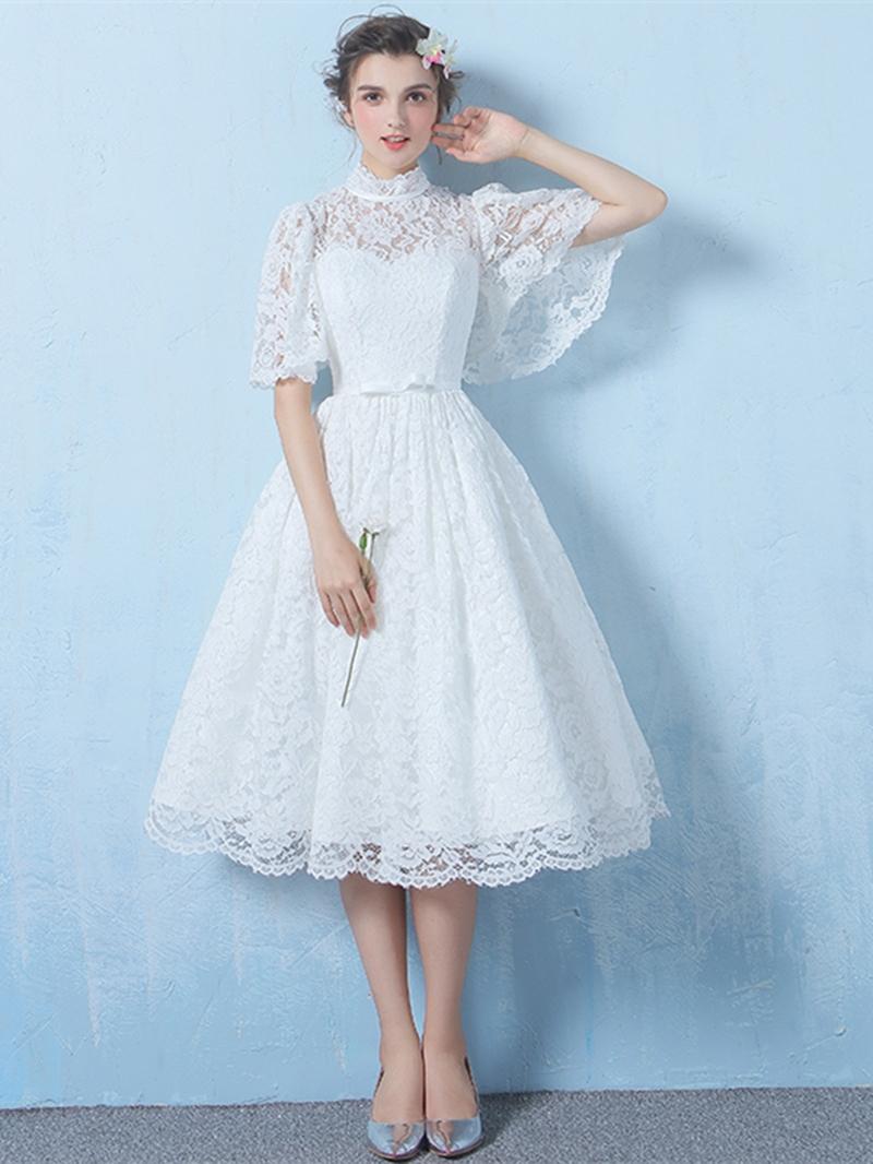 Ericdress A Line Half Sleeve Lace Tea Length Homecoming Dress