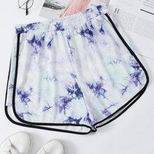 Tie Dye Piping Trim Track Shorts