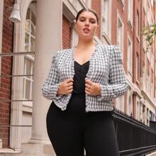 Tweed Jacke mit offener Vorderseite, ungesaeumtem Saum und Plaid Muster