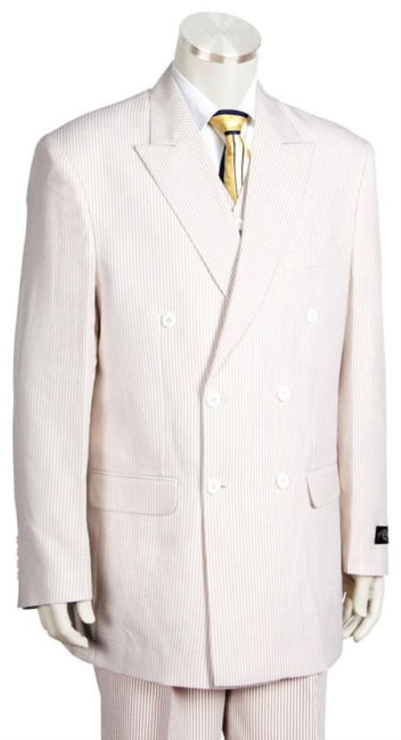 Double Breasted Lightweight 6 Button Suit Jacket in White