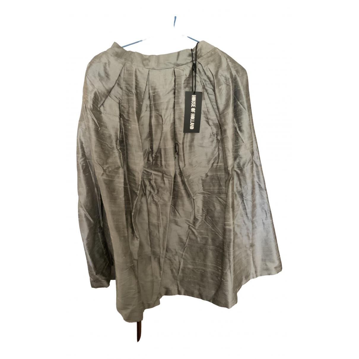 House Of Holland \N Silver Silk skirt for Women 8 UK