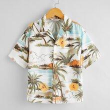 Boys Revere Collar Tropical Print Shirt