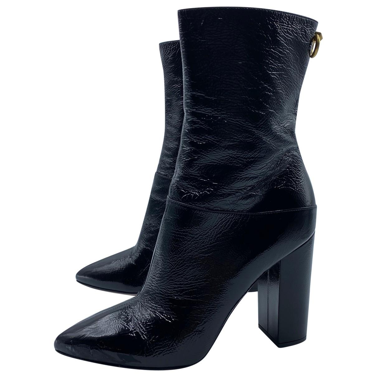 Valentino Garavani \N Black Leather Ankle boots for Women 39 EU