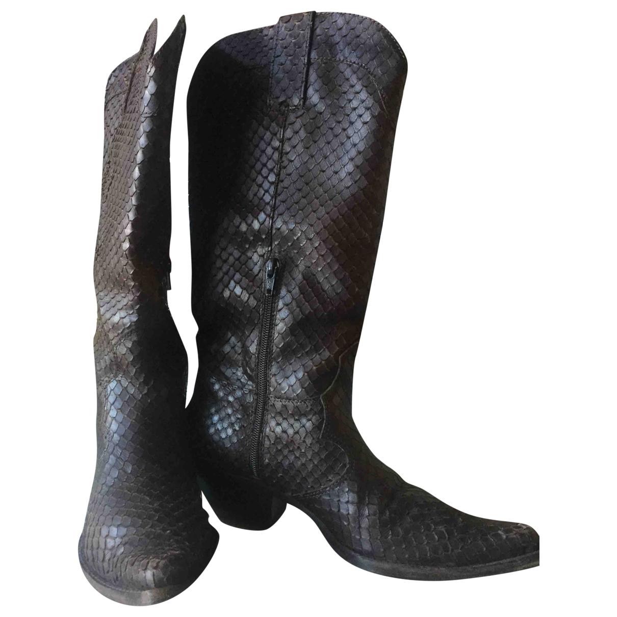 - Bottes   pour femme en python - marron