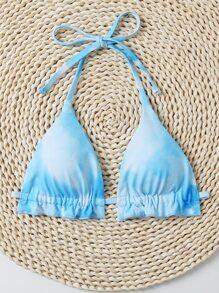 Tie Dye Halter Triangle Bikini Top
