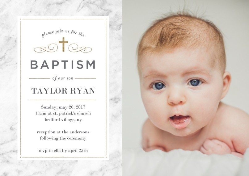Baptism Invitations 5x7 Cards, Premium Cardstock 120lb with Elegant Corners, Card & Stationery -Baptism Simple Cross
