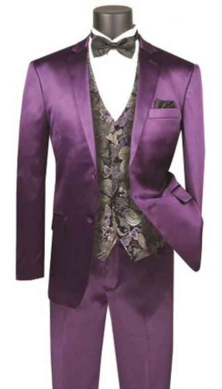 Mens Shiny Purple Slim Fit Suit