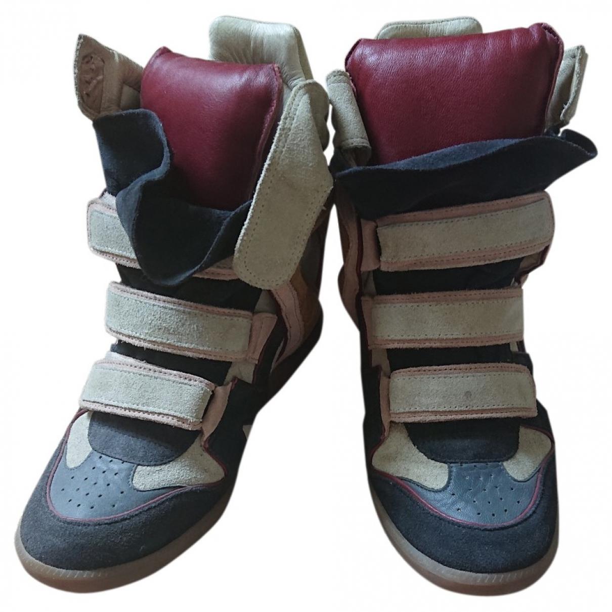Isabel Marant Bayley Sneakers in  Bunt Veloursleder