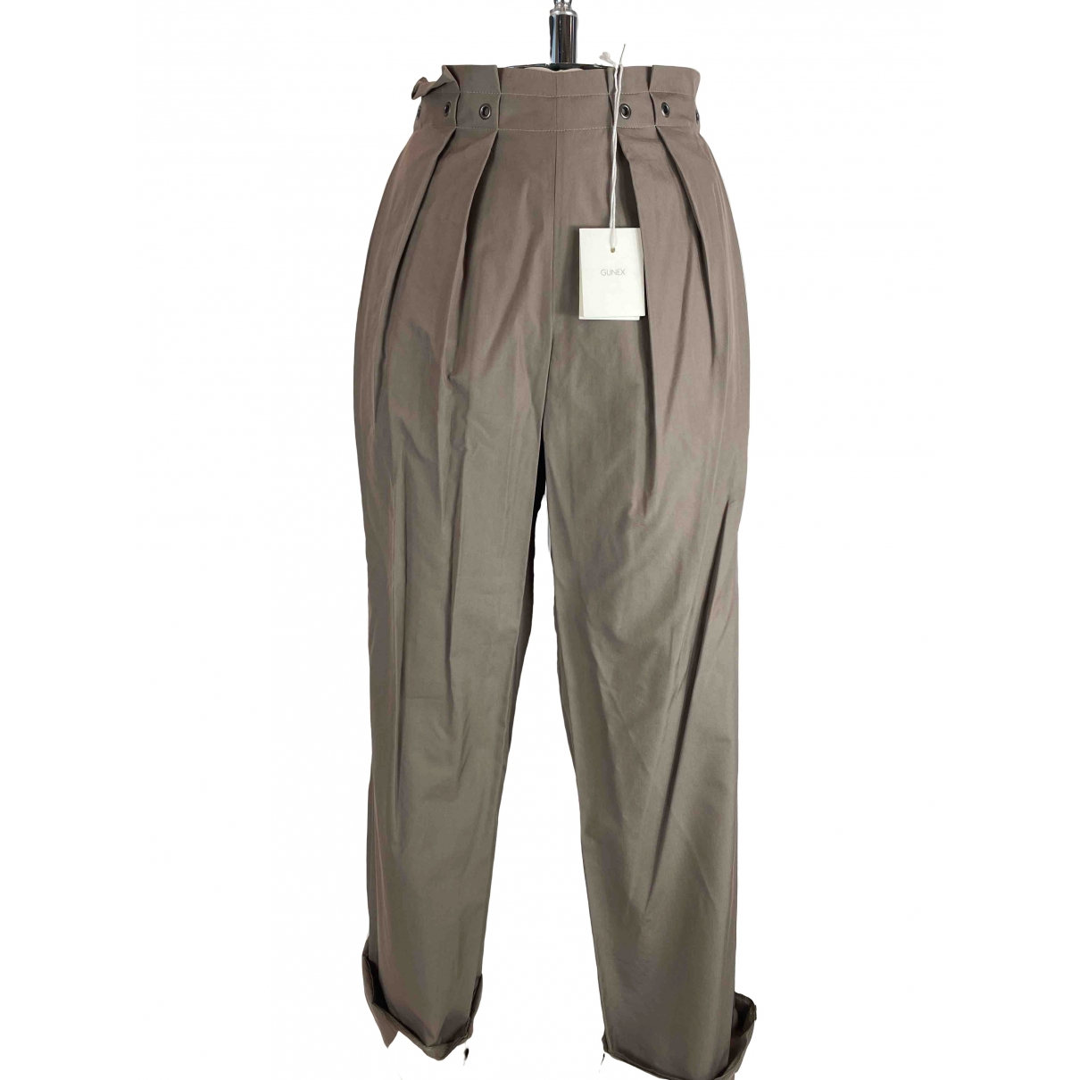 Brunello Cucinelli \N Beige Cotton Trousers for Women 42 IT