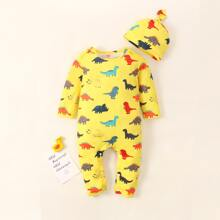 Baby Boy Allover Cartoon Dinosaur Tee Jumpsuit With Hat