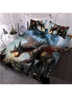 Dragon 3D Warm Comforter 3-Piece Soft Comforter Sets with 2 Pillowcases
