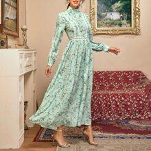Kleid mit Stehkragen, Guipure Spitzenbesatz und Blumen Muster