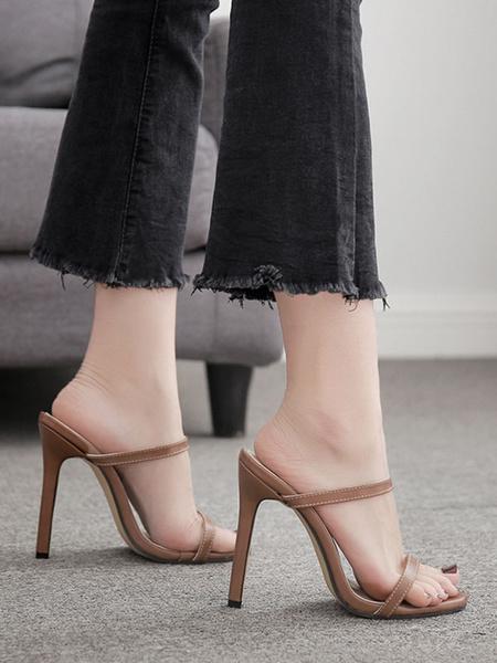 Milanoo Sandalias de tacon alto Zapatillas Mujer punta abierta tacon de aguja Sandalia zapatos