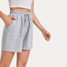 Solid Drawstring Waist Shorts