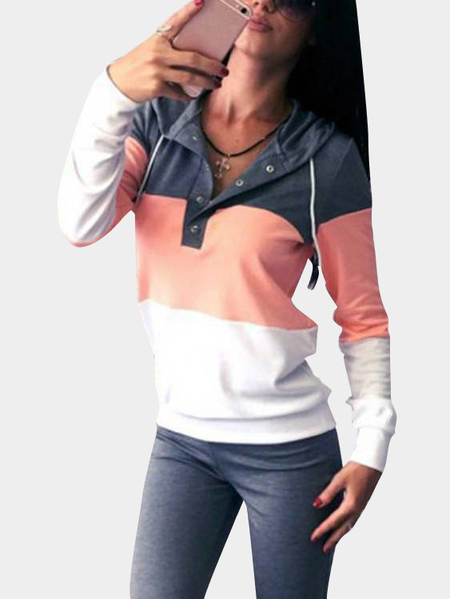 Yoins Grey Button Front V-neck Long Sleeves Hooded Tracksuit