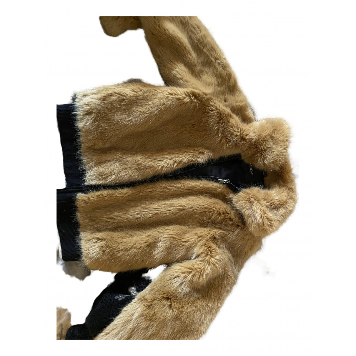 Maje Fall Winter 2019 Camel Faux fur jacket for Women 40 FR