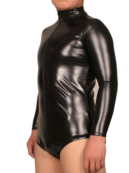 Milanoo Black Long Sleeves Shiny Metallic Fabric Leotard Catsuit For Men